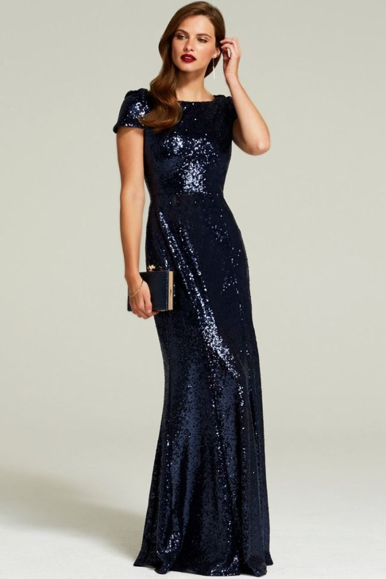 HotSquash Navy Cowl Back Sequinned Fishtail Maxi Dress - Liyanah