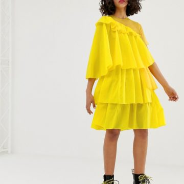 House of Holland rip stop extreme yellow frill dress - Liyanah