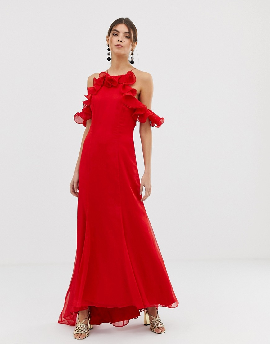 Keepsake Embrace red ruffle gown