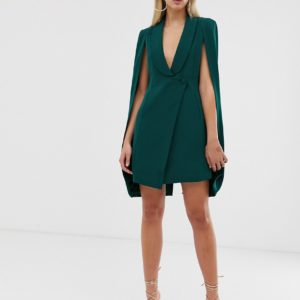 Lavish Alice fitted tuxedo cape mini dress in forest green - Liyanah