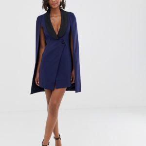 Lavish Alice navy tuxedo cape dress with contrast black satin lapel - Liyanah