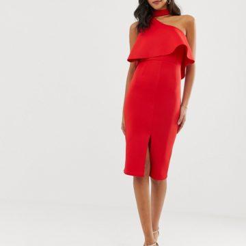 Lavish Alice red scuba high neck one shoulder midi dress - Liyanah