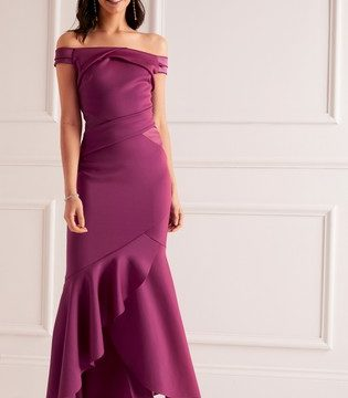 Lipsy Bardot Satin Panel Maxi Dress - Liyanah