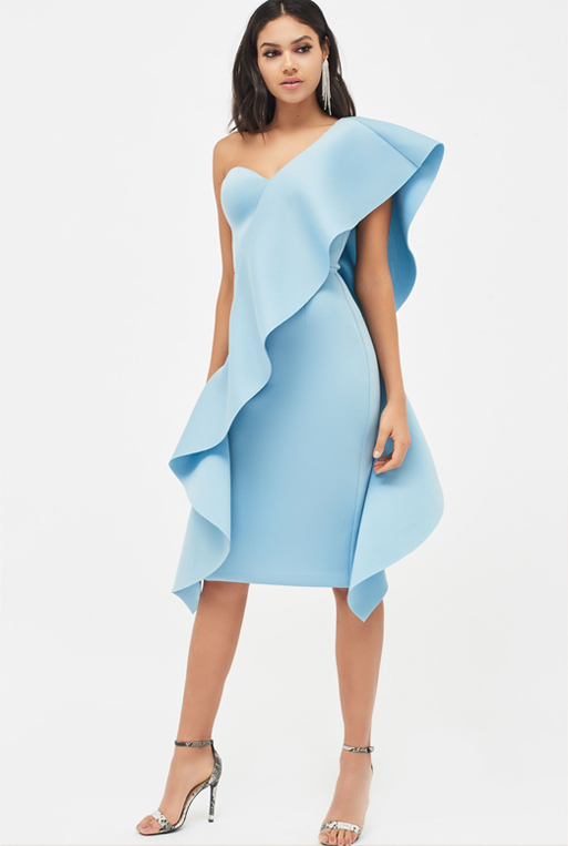 Lavish Alice Exaggerated Frill One Shoulder Scuba Midi Dress