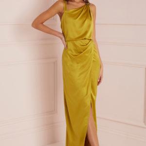 Next Lipsy Satin Assymetric Neck Maxi Dress - Liyanah