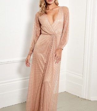 Sistaglam Embellished Long Sleeve Wrap Maxi Dress - Liyanah