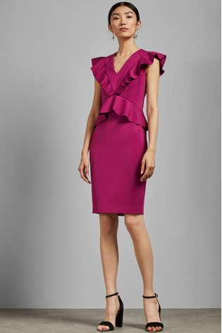 Ted Baker Pink Alair Ruffle Peplum Bodycon Dress