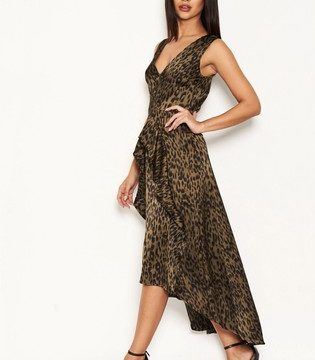 Topshop AX Paris Animal Print Satin Dress - Liyanah