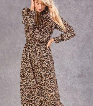 Topshop Animal Leopard Print High Neck Dress - Liyanah