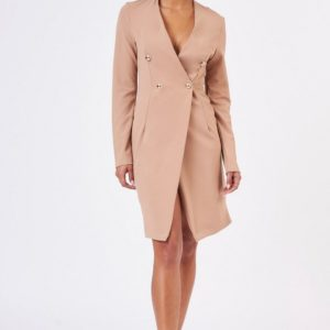 Topshop Beige Blazer Midi Wrap Dress by CLUB L - Liyanah
