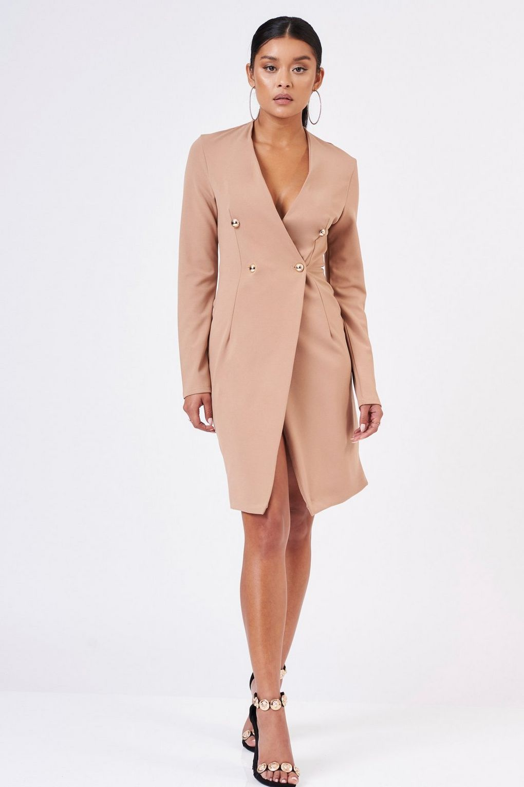 Blazer Midi Wrap Dress by CLUB L