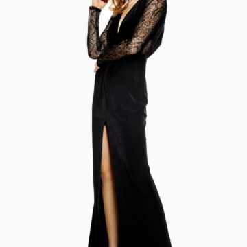 Topshop Black Lace Panel Maxi Dress - Liyanah