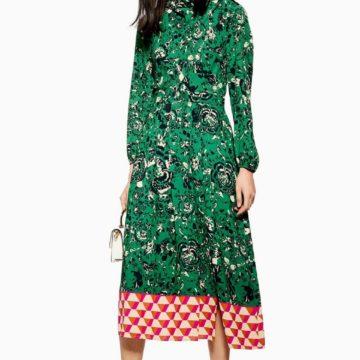 Topshop Geo Border Tie Floral Print Green Red Neck Dress - Liyanah