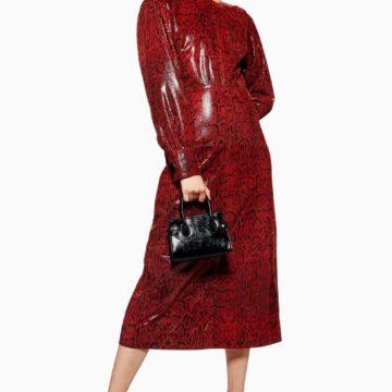 Topshop Snake Leather Burgundy Red Midi Dress - Liyanah