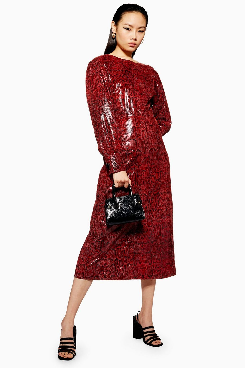 Snake Leather Red Black Midi Dress