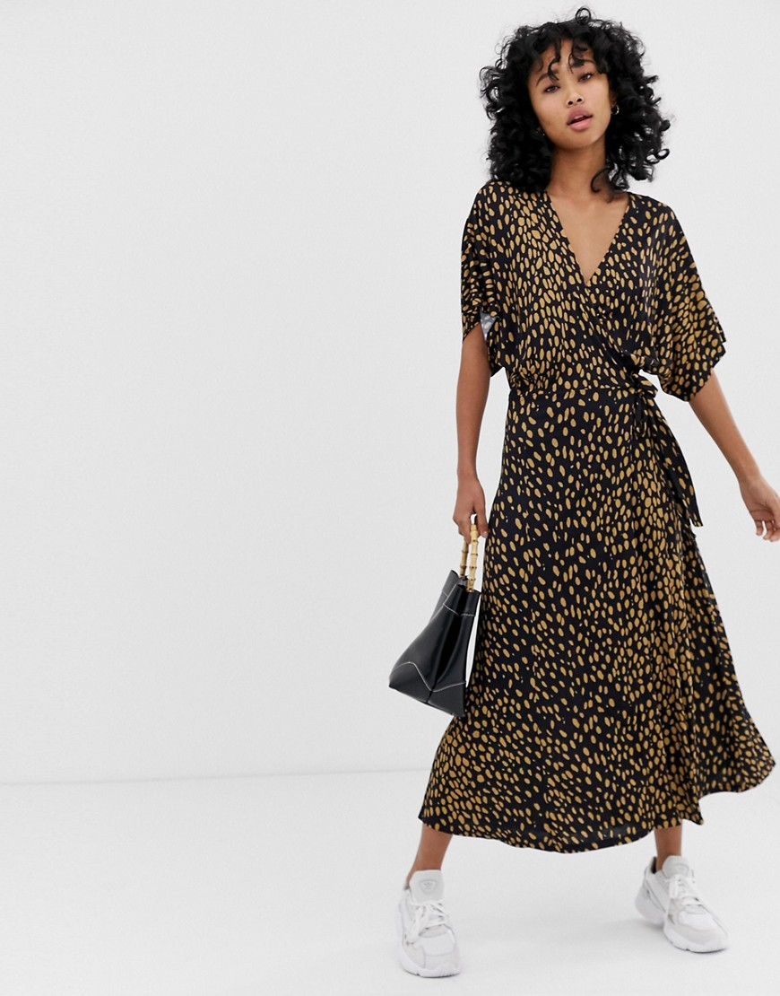 Whistles Exclusive animal print wrap dress