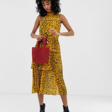 Whistles animal print pleated tiered midi dress - Liyanah