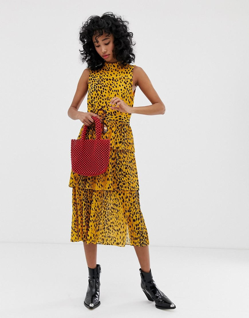 Whistles animal print pleated tiered midi dress