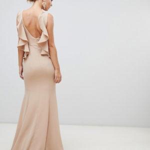 Yaura ruffle open back maxi dress in taupe beige - Liyanah