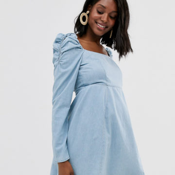 ASOS DESIGN Maternity denim milkmaid mini dress in lightwash blue
