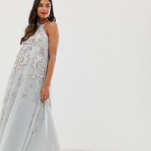 ASOS DESIGN Maternity maxi dress with pinny bodice and embellished artwork