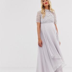 ASOS DESIGN Maternity maxi dress with short sleeve embellished bodice