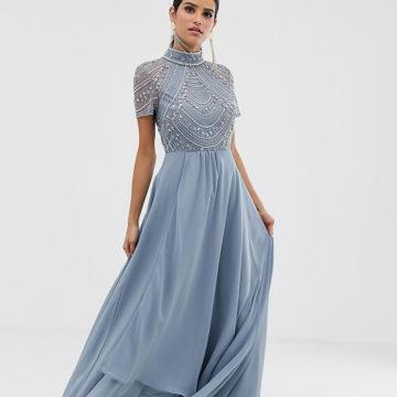 ASOS DESIGN Tall maxi dress with short sleeve embellished bodice