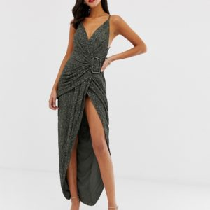 ASOS DESIGN all over sequin drape maxi dress with horn buckle