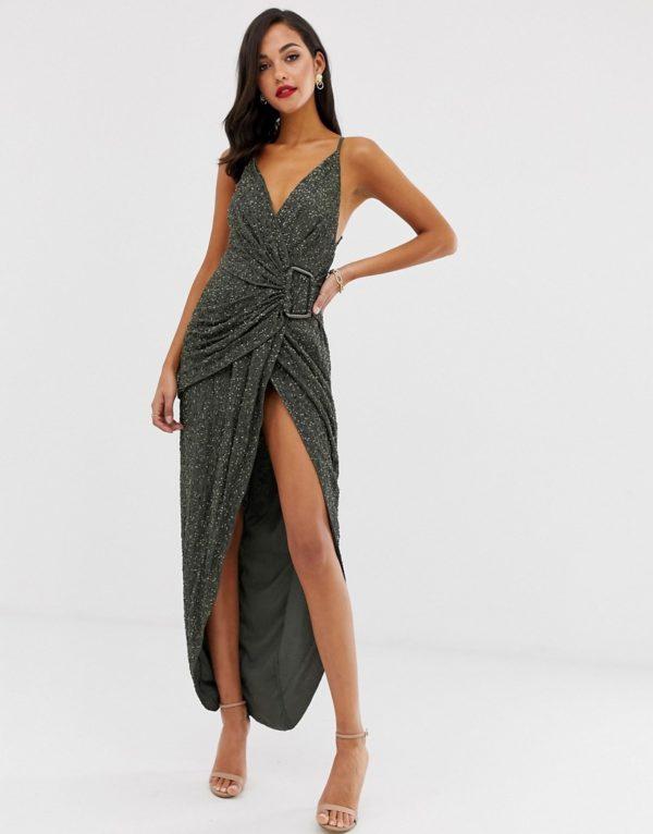 ASOS DESIGN all over sequin drape maxi dress with horn buckle
