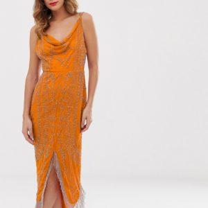 ASOS DESIGN cowl neck midi dress in allover embellishment with fringe hem