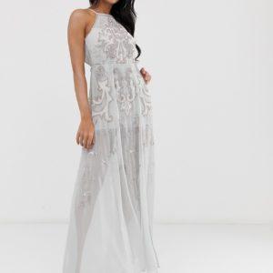 ASOS DESIGN embellished artworked maxi dress