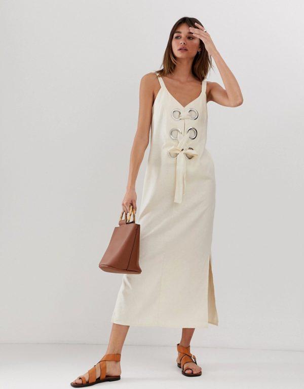 ASOS DESIGN eyelet detail cami maxi dress in linen