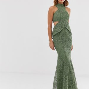 ASOS DESIGN high neck lace maxi dress with cut outs and fishtail hem