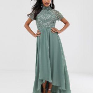 ASOS DESIGN maxi dress with short sleeve embellished bodice