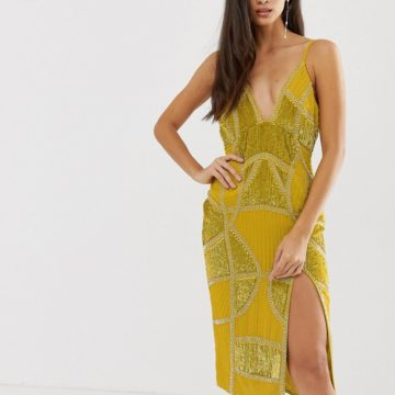 ASOS DESIGN sexy pencil midi dress with embellished panels