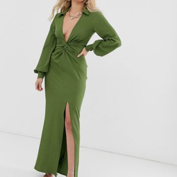 ASOS DESIGN textured drape shirt maxi dress with knot detail