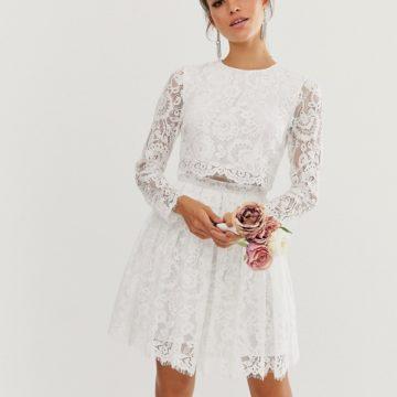 ASOS EDITION crop top lace mini wedding dress