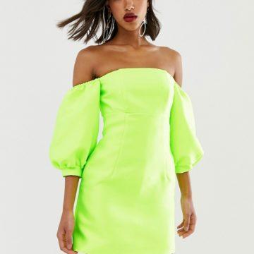 ASOS EDITION puff sleeve off shoulder mini dress