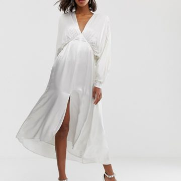 ASOS EDITION ruched batwing midi dress