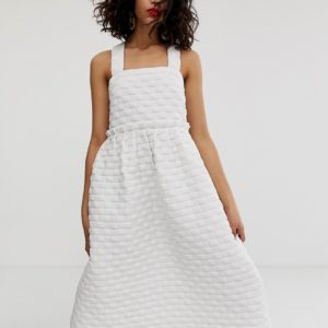 ASOS WHITE volume tiered dress