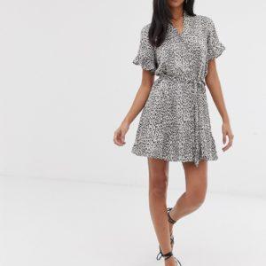 AllSaints fay leopard button down mini dress