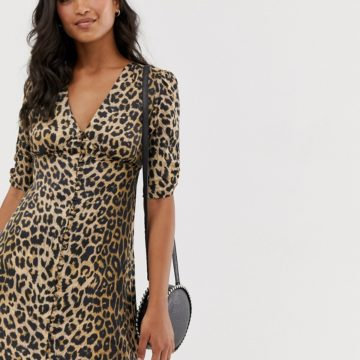 AllSaints kota leopard print mini tea dress