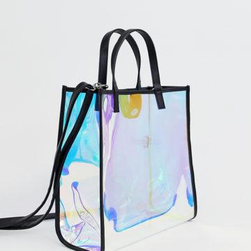 Bershka holographic shopper in white