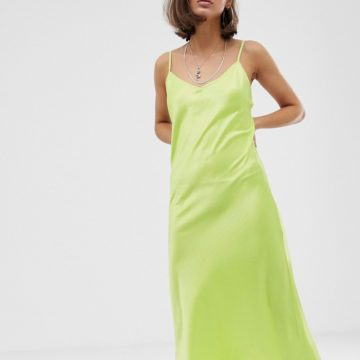 Bershka satin slip dress in green