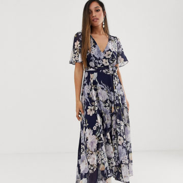 Forever New Petite floral print midi dress with asymmetric hem