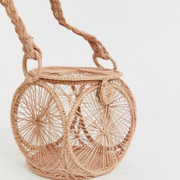 KAANAS woven raffia handle detail clutch bag in pink