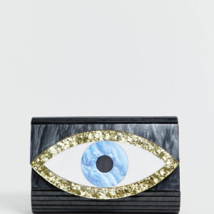 Kurt Geiger Eye resin envelope clutch bag with chain