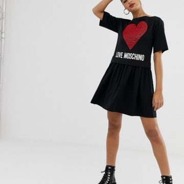 Love Moschino double layer dress with heart motif