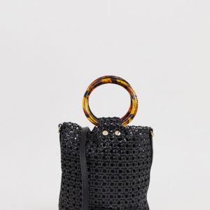 Mango woven bucket bag with tortoiseshell handles in black