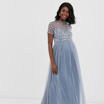 Maya Maternity cap sleeve floral embellished maxi dress in ice blue